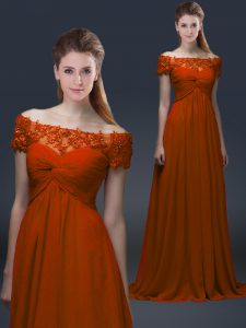 Floor Length Lace Up Prom Dress Rust Red for Prom and Party with Appliques