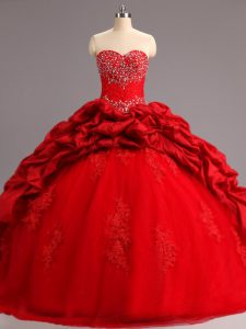 Sweetheart Sleeveless Taffeta and Tulle Ball Gown Prom Dress Beading and Appliques and Pick Ups Court Train Lace Up
