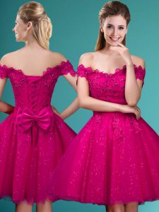 Fuchsia Tulle Lace Up Dama Dress Cap Sleeves Knee Length Lace and Belt