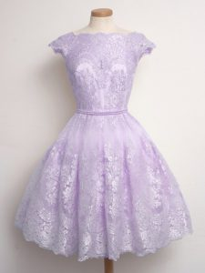 Cap Sleeves Lace Knee Length Lace Up Vestidos de Damas in Lavender with Lace
