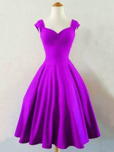 Eggplant Purple Lace Up Straps Ruching Quinceanera Court of Honor Dress Taffeta Sleeveless