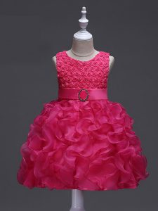 Dramatic Hot Pink Ball Gowns Scoop Sleeveless Organza Knee Length Lace Up Ruffles and Belt Evening Gowns