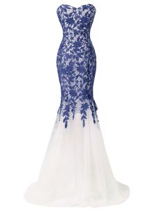 Blue And White Sleeveless Tulle Brush Train Lace Up Evening Party Dresses for Prom and Military Ball and Beach