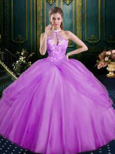Noble Ball Gowns Quinceanera Dress Lilac Halter Top Tulle Sleeveless Floor Length Lace Up