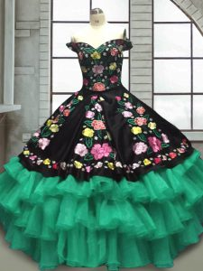 Charming Off The Shoulder Sleeveless Quince Ball Gowns Floor Length Embroidery and Ruffled Layers Multi-color Organza and Taffeta