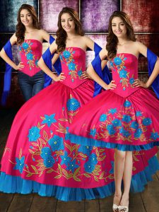 Chic Strapless Sleeveless Quince Ball Gowns Floor Length Embroidery Hot Pink Taffeta