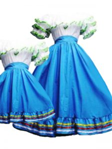 Super Floor Length Baby Blue Quinceanera Gowns Taffeta Short Sleeves Pick Ups