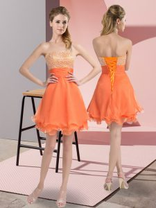Custom Designed Sleeveless Beading and Ruffled Layers and Ruching Lace Up Cocktail Dresses