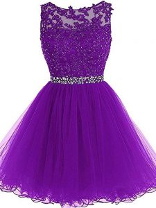 Sophisticated Eggplant Purple Sleeveless Tulle Zipper Dress for Prom for Prom and Party and Sweet 16