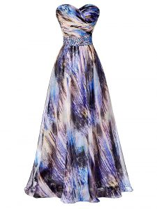 Multi-color A-line Printed Sweetheart Sleeveless Beading and Ruching Side Zipper Dress for Prom