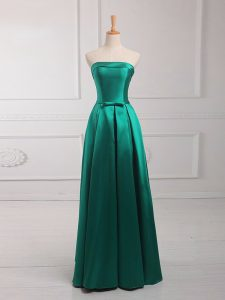 Nice Dark Green Strapless Lace Up Belt Vestidos de Damas Sleeveless