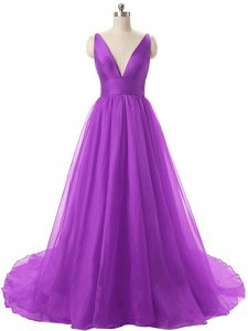 Ruching Dress for Prom Eggplant Purple Backless Sleeveless