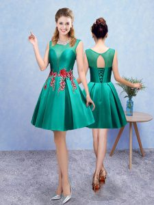 Designer Turquoise Lace Up Scoop Embroidery Court Dresses for Sweet 16 Taffeta Sleeveless