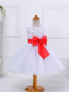 Bowknot Kids Pageant Dress White Zipper Sleeveless Knee Length