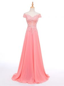 Floor Length Watermelon Red Juniors Evening Dress Chiffon Short Sleeves Lace and Appliques