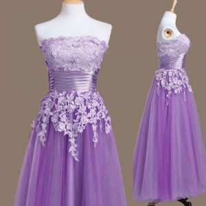 Sleeveless Tulle Tea Length Lace Up Dama Dress in Lavender with Appliques