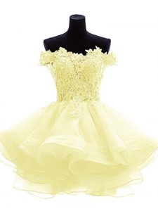 On Sale Sleeveless Organza Mini Length Zipper Prom Party Dress in Light Yellow with Beading and Lace and Appliques and Ruffles