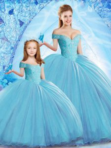 Sleeveless Sweep Train Lace Up Beading Quinceanera Dresses