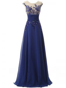 Blue Chiffon Zipper Homecoming Dress Sleeveless Floor Length Lace and Appliques and Ruching