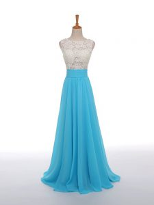 Exquisite Lace and Appliques Formal Evening Gowns Baby Blue Side Zipper Sleeveless Floor Length