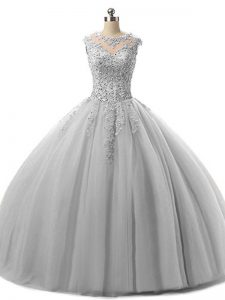 Low Price Grey Scoop Neckline Beading and Lace Sweet 16 Quinceanera Dress Sleeveless Lace Up