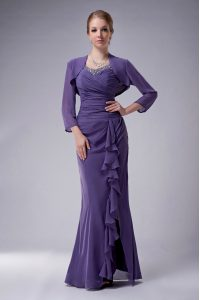 Sleeveless Chiffon Floor Length Zipper Prom Party Dress in Purple with Beading