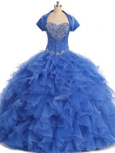 Strapless Sleeveless Organza Quinceanera Dresses with Jacket Beading and Ruffles Lace Up