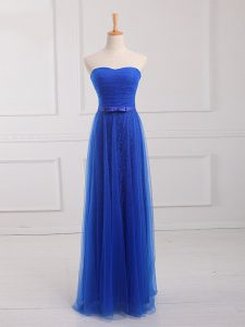 Excellent Tulle and Lace Sweetheart Sleeveless Lace Up Belt Damas Dress in Royal Blue