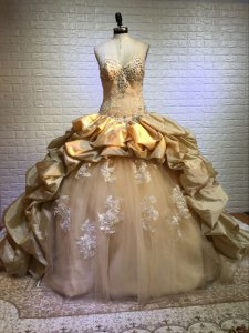 Dramatic Taffeta and Tulle Sleeveless Quinceanera Gown Court Train and Beading and Appliques and Pick Ups
