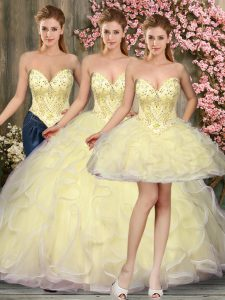 Fitting Light Yellow Tulle Lace Up Sweetheart Sleeveless Floor Length Ball Gown Prom Dress Beading and Ruffles