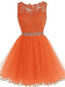 Exquisite Orange A-line Scoop Sleeveless Tulle Mini Length Zipper Beading and Ruffles Prom Evening Gown