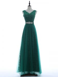 Green Sleeveless Beading and Appliques Floor Length Prom Gown