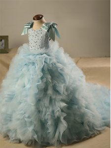 Scoop Sleeveless Tulle Little Girls Pageant Dress Wholesale Beading and Ruffles and Bowknot Brush Train Zipper