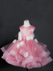 Knee Length Ball Gowns Cap Sleeves Pink Kids Formal Wear Zipper
