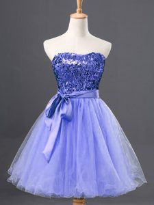 Top Selling Sweetheart Sleeveless Prom Evening Gown Mini Length Sequins Blue Tulle