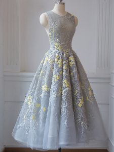 Grey Court Dresses for Sweet 16 Prom and Party and Wedding Party with Lace Scoop Sleeveless Criss Cross