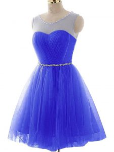 Blue Prom Gown Prom and Party and Sweet 16 with Beading and Ruching Scoop Sleeveless Lace Up
