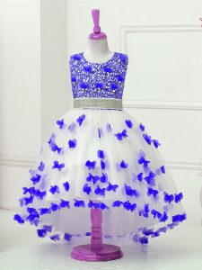 Appliques and Sequins Pageant Dress for Girls Blue And White Zipper Sleeveless High Low