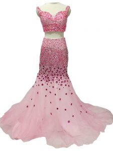Baby Pink Tulle Zipper Straps Sleeveless Prom Evening Gown Brush Train Beading