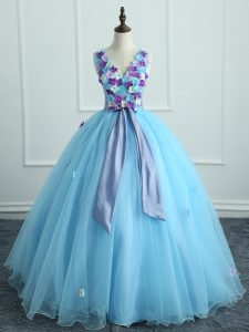 Ideal Sleeveless Lace Up Floor Length Appliques and Belt 15 Quinceanera Dress