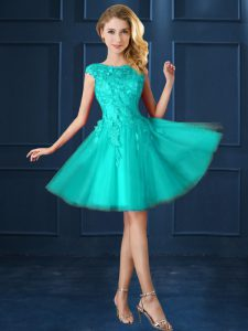 Decent Bateau Cap Sleeves Dama Dress Knee Length Lace and Belt Turquoise Tulle