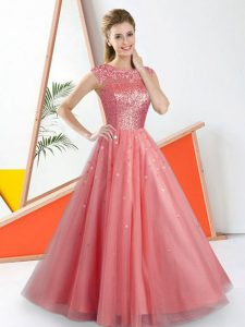 Watermelon Red Court Dresses for Sweet 16 Prom and Party with Beading and Lace Bateau Sleeveless Backless