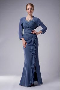Floor Length Zipper Prom Evening Gown Blue for Prom and Party with Beading