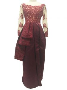Most Popular Lace and Appliques Prom Dress Burgundy Zipper Long Sleeves Floor Length