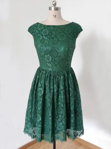 Dark Green Scoop Lace Up Lace Quinceanera Court of Honor Dress Cap Sleeves