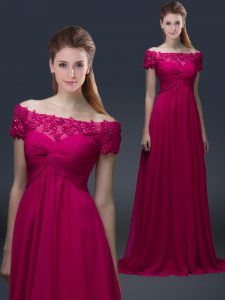Elegant Short Sleeves Chiffon Floor Length Lace Up Prom Party Dress in Fuchsia with Appliques