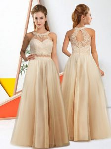 Luxury Sleeveless Floor Length Lace Zipper Dama Dress for Quinceanera with Champagne