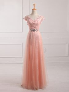Fantastic Short Sleeves Lace Up Floor Length Beading and Lace and Appliques Homecoming Dress