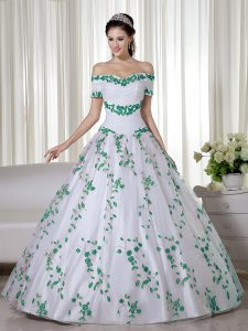 Fitting White Short Sleeves Organza Lace Up Quince Ball Gowns for Military Ball and Sweet 16 and Quinceanera