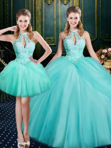 Floor Length Lace Up Sweet 16 Dresses Aqua Blue for Military Ball and Sweet 16 and Quinceanera with Beading and Pick Ups